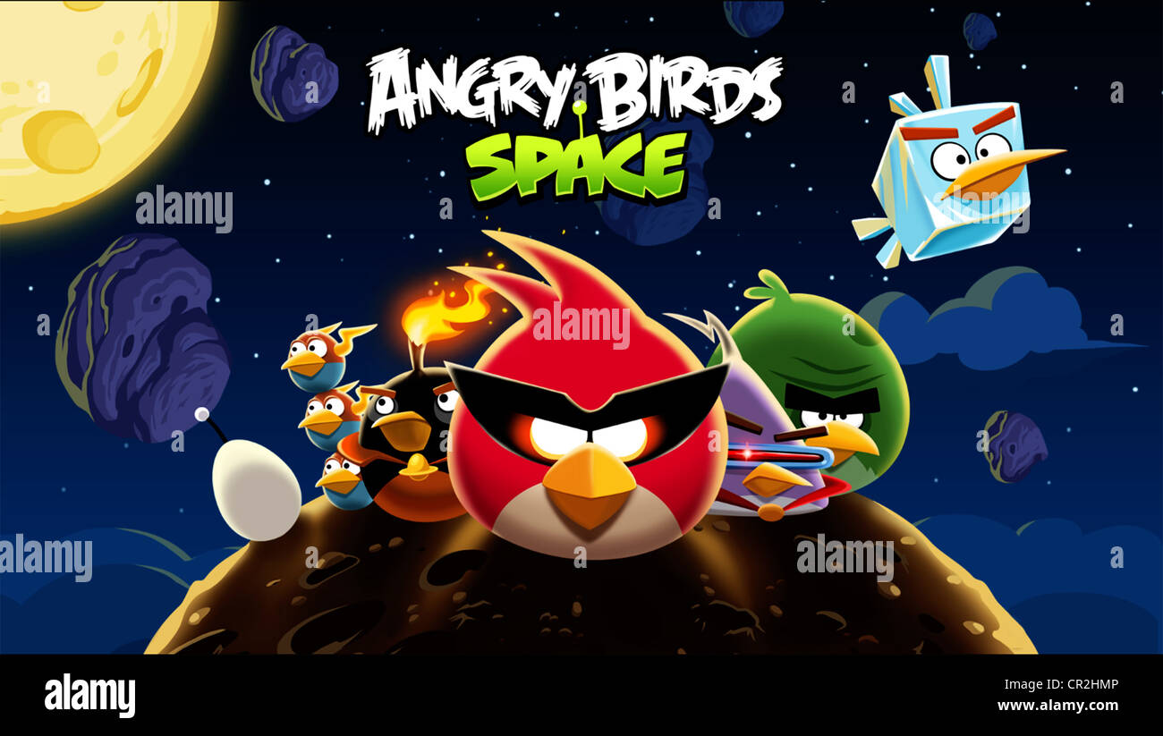 Angry Birds Space - loading screen for the game - Stock Image