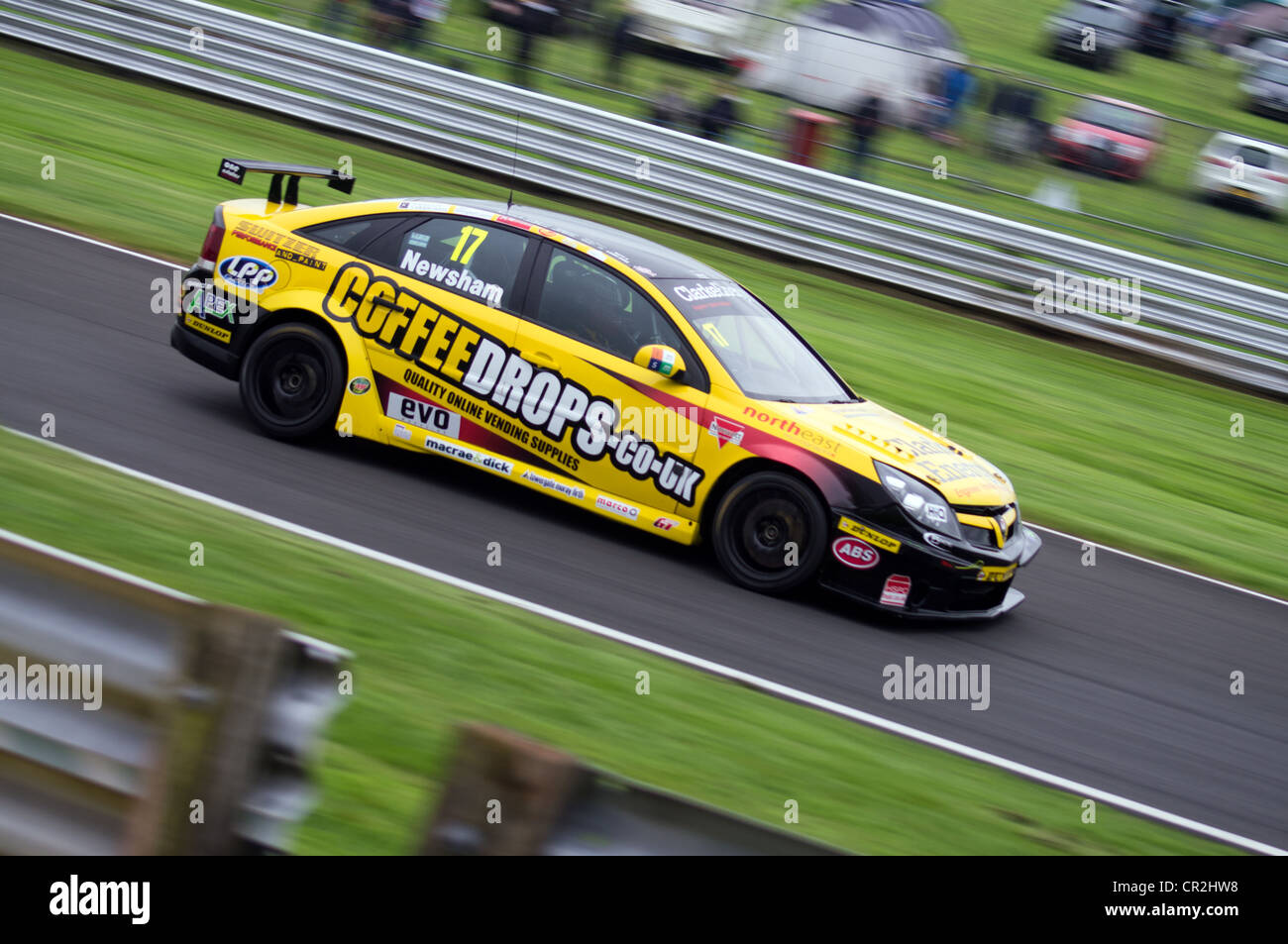 Newsham in his Toyota during the practice session of the British Touring Cars at Oulton Park, England, June 9th - Stock Image