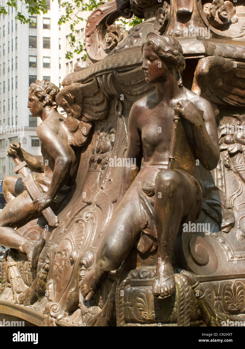 Bronze monumental flagpole base,  New York Public Library, NYC Stock Photo