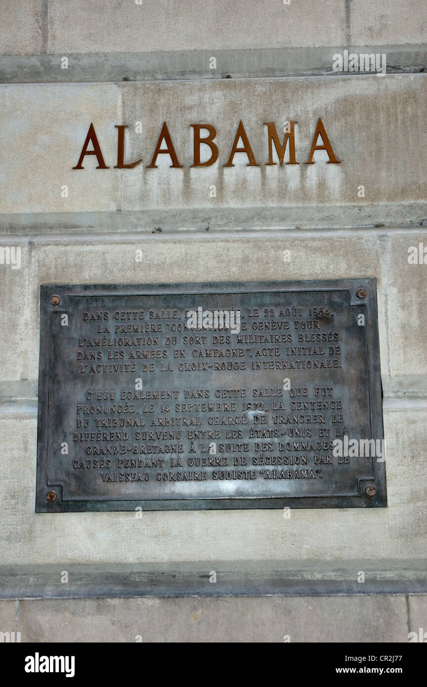 Alabama plaque on the wall of Geneva Town Hall, Switzerland, commemorating the first settlement of an international - Stock Image