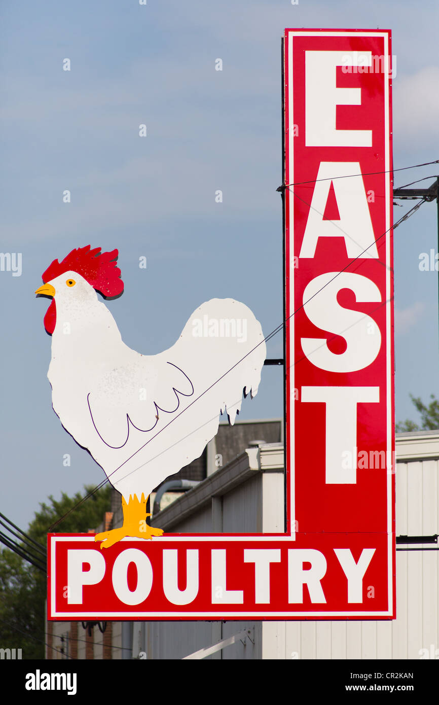 Metal sign for a chicken / poultry processing plant in East Austin, Texas - Stock Image