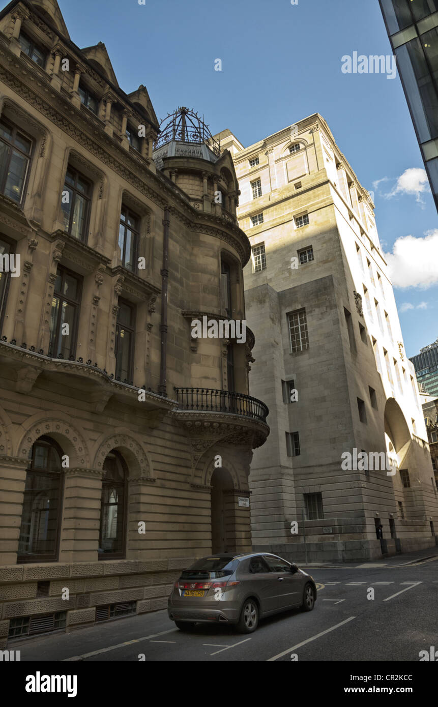 Corner of a Victorian building on the corner of Chancery Lane and Brown Street central Manchester - Stock Image