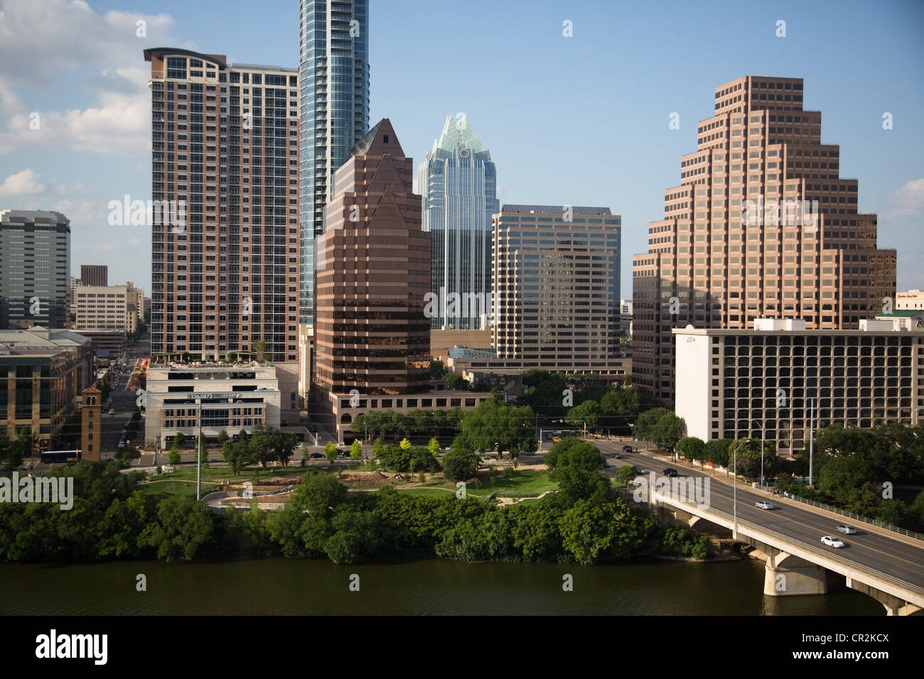 Downtown Austin, Texas Skyline Skyscrapers Looking North From Across  Ladybird Lake / Town Lake