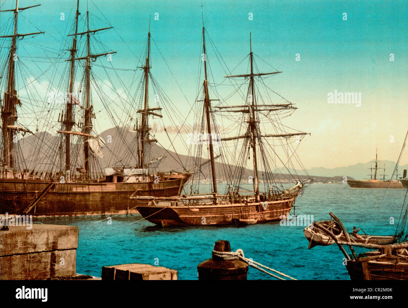 Ships in the harbor, Naples, Italy, circa 1900 - Stock Image