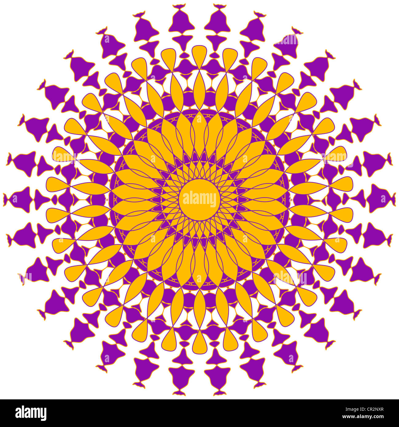 Artistic mandala pattern in violet and yellow Stock Photo