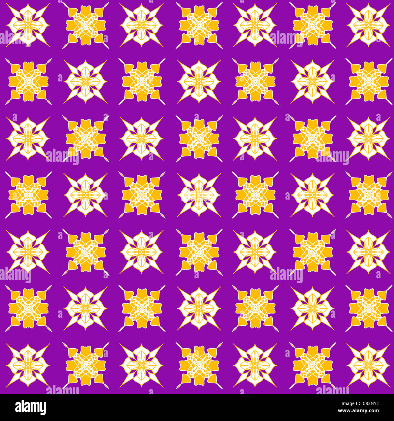 Artistic stars and floral pattern on purple Stock Photo