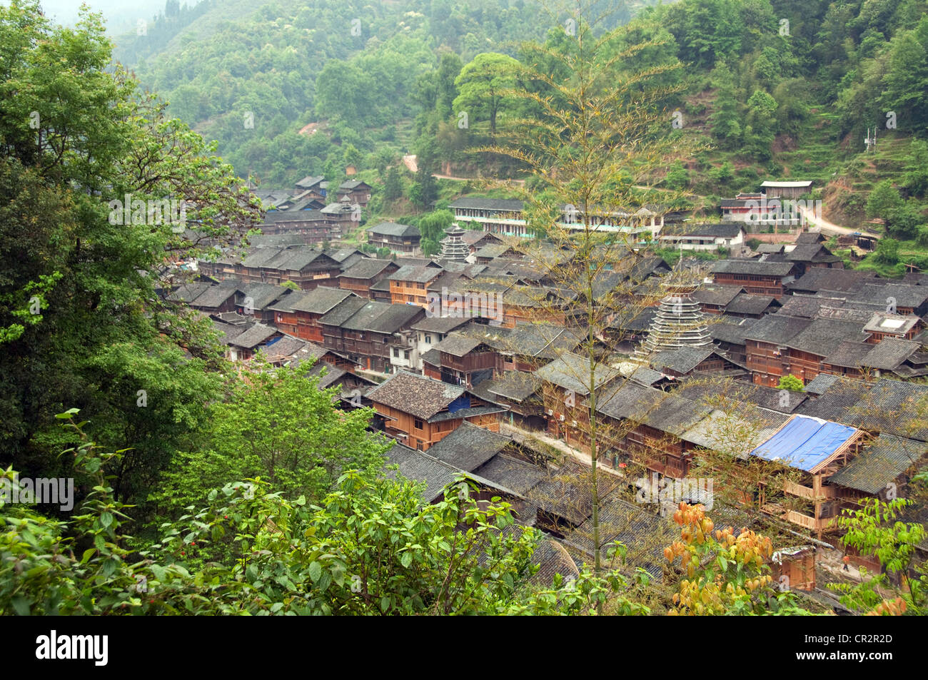 Zhaoxing Dong Village roofs seen from above, Southern China Stock Photo