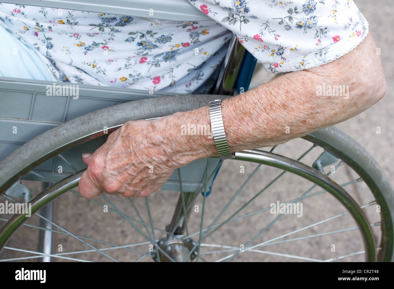Elderly woman in wheelchair - Stock Image
