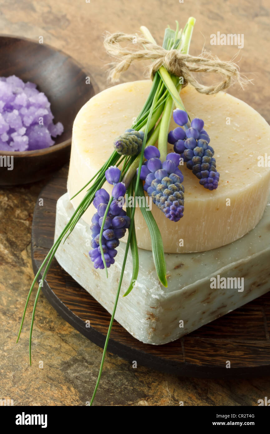 Handcrafted soap with fresh lavender and purple spa salt - Stock Image