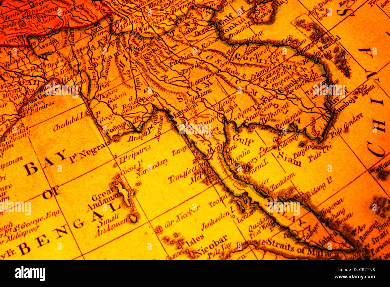 old map of south east asia focused on the word siam includes malaysia burma thailand cambodia vietnam laos