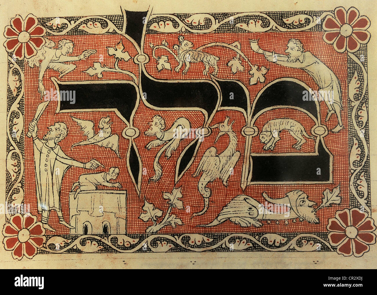 History of the Jews. Middle Ages. Miniauture depicting the Sacrifice of Isaac, taken from a Machzor. Reproduction. - Stock Image