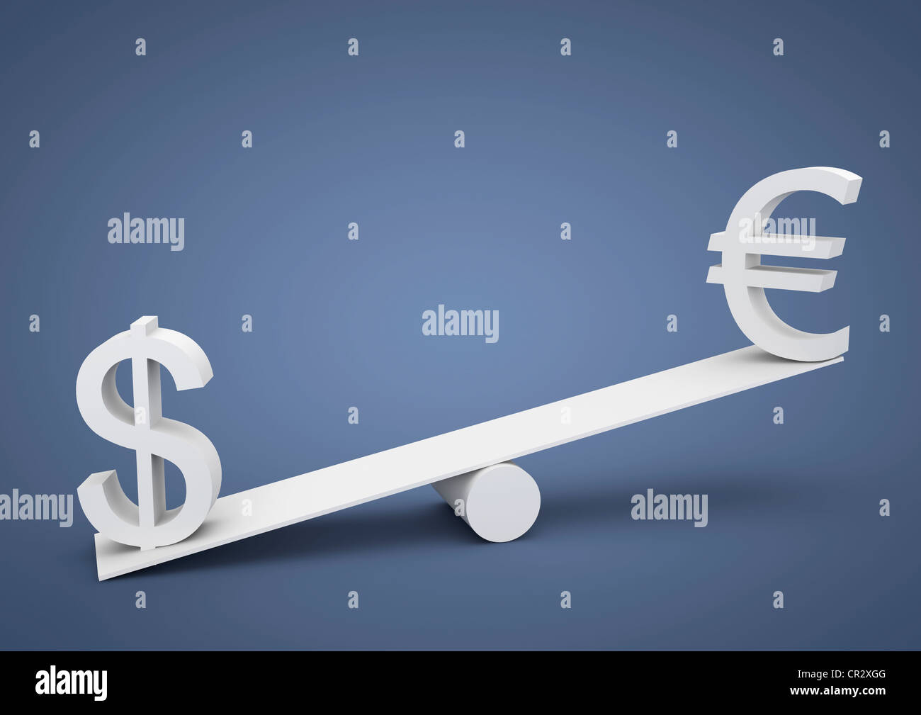Seesaw out of balance, the U.S. dollar is heavier than the euro, currency, symbolic image for imbalance, dominance Stock Photo