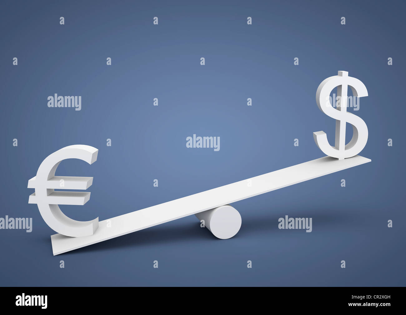 Seesaw out of balance, the euro is heavier than the U.S. dollar, currency, symbolic image for imbalance, dominance Stock Photo