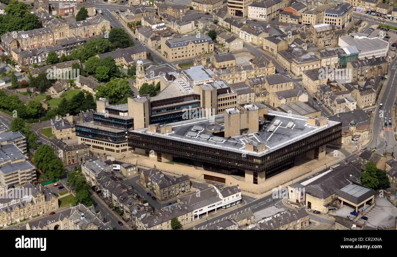 aerial view of the former Halifax Building Society Headquarters in Halifax - Stock Image