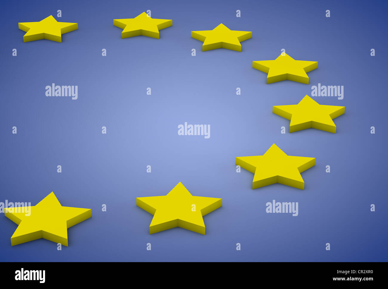 European flag with stars, European Union, Europe, 3D illustration - Stock Image