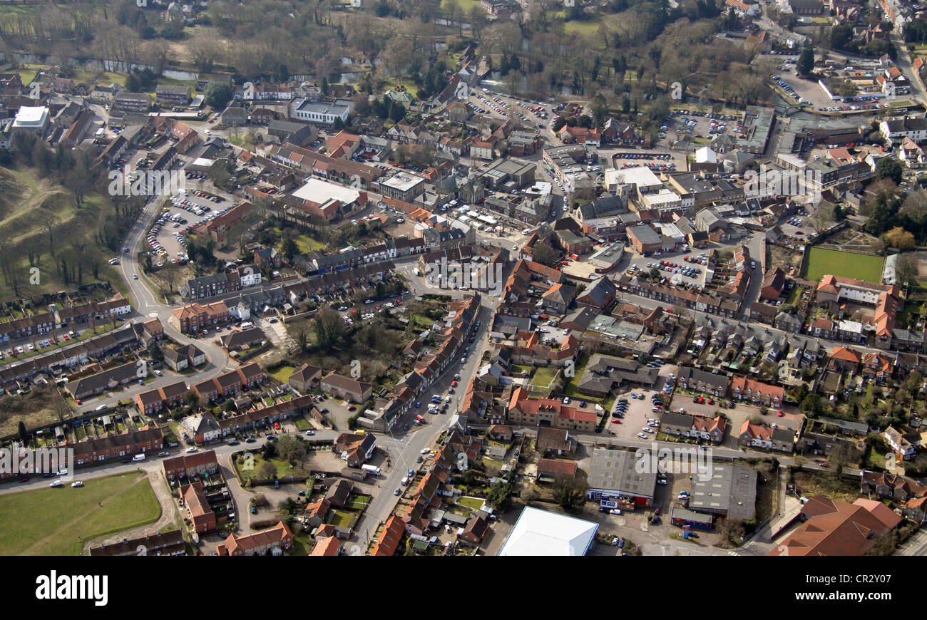 aerial view of Thetford, Norfolk - Stock Image