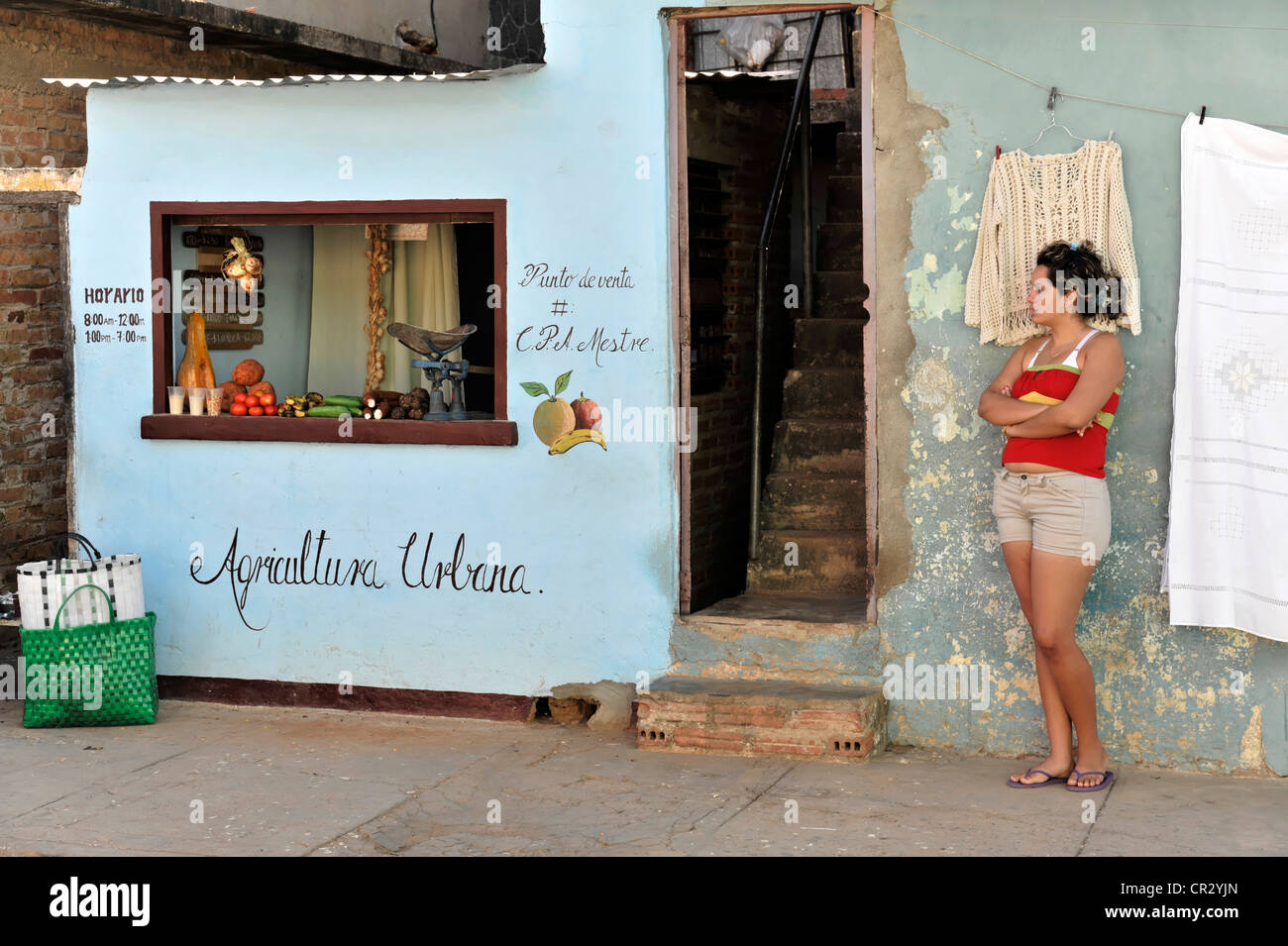 Agricultura Urbana, urban agriculture, small fruit and vegetable shop, Trinidad, Cuba, Greater Antilles, Caribbean - Stock Image