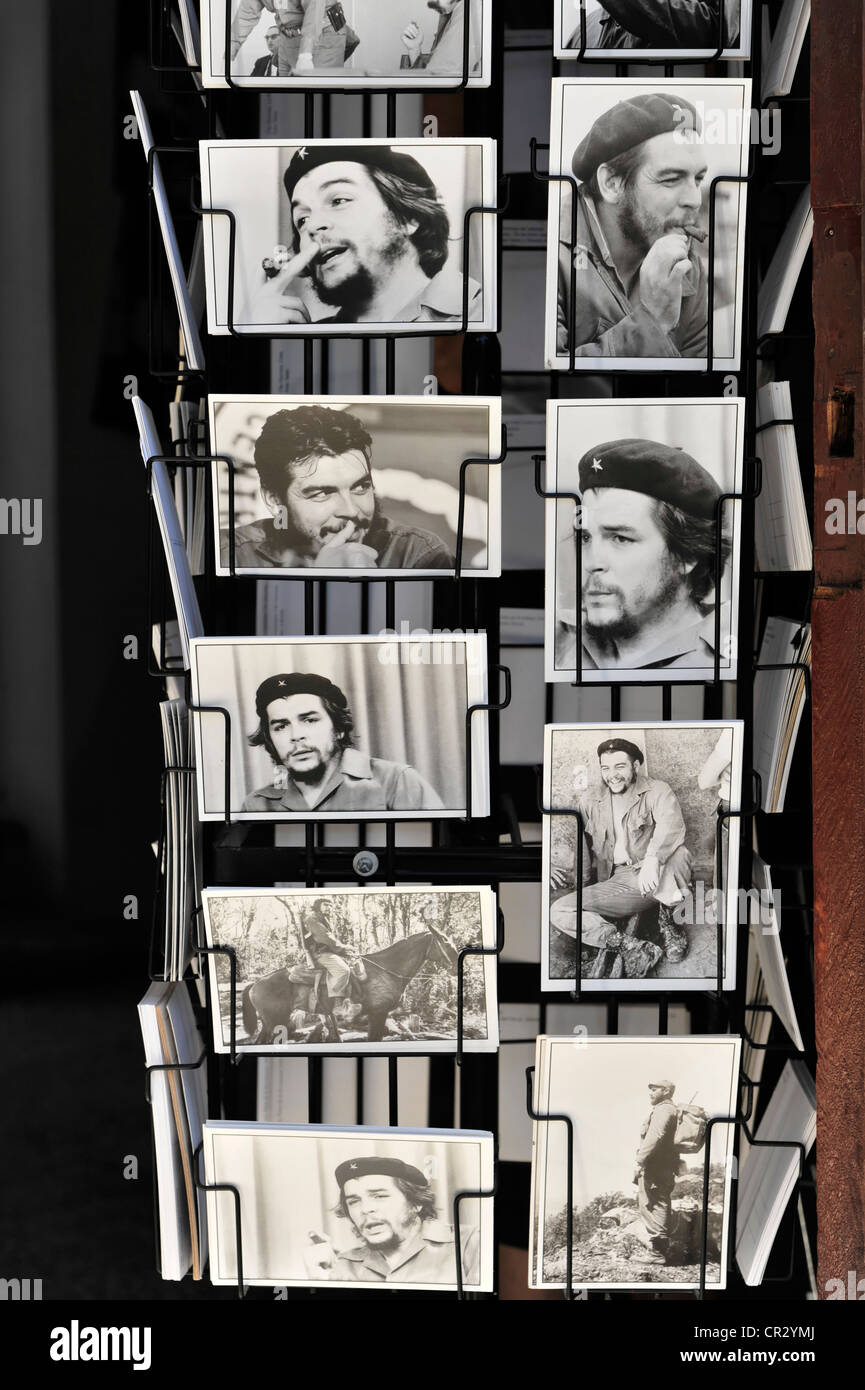 Postcards in a rack, pictures of Che Guevara, Cuba, Greater Antilles, Caribbean, Central America, America - Stock Image