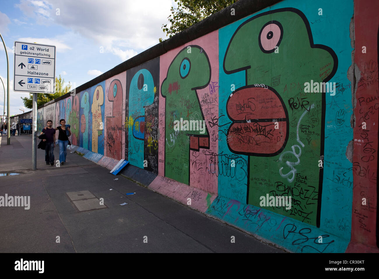 Germany, Berlin, Friedrichshain District, East Side Gallery, remmains of the wall on the Eastern Side (former RDA) - Stock Image