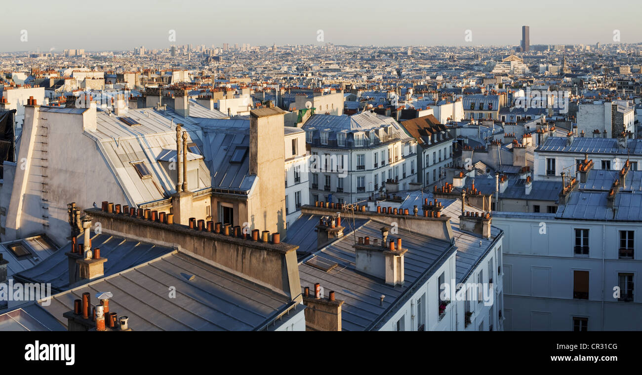France, Paris, Montmartre, view of the roofs of the city - Stock Image