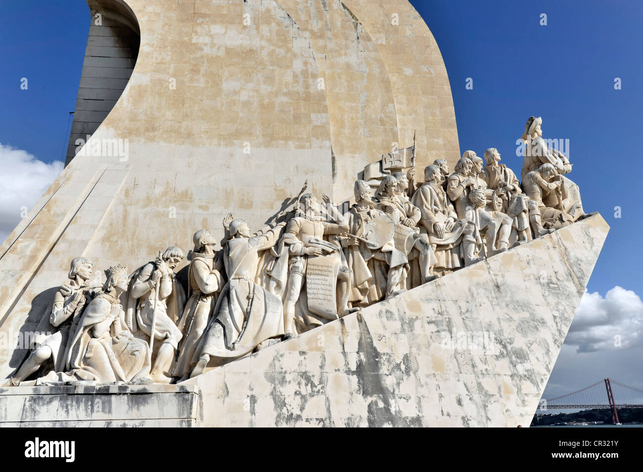 Padrao dos Descobrimentos, Monument to the Discoveries, monument with major Portuguese seafaring figures on the - Stock Image