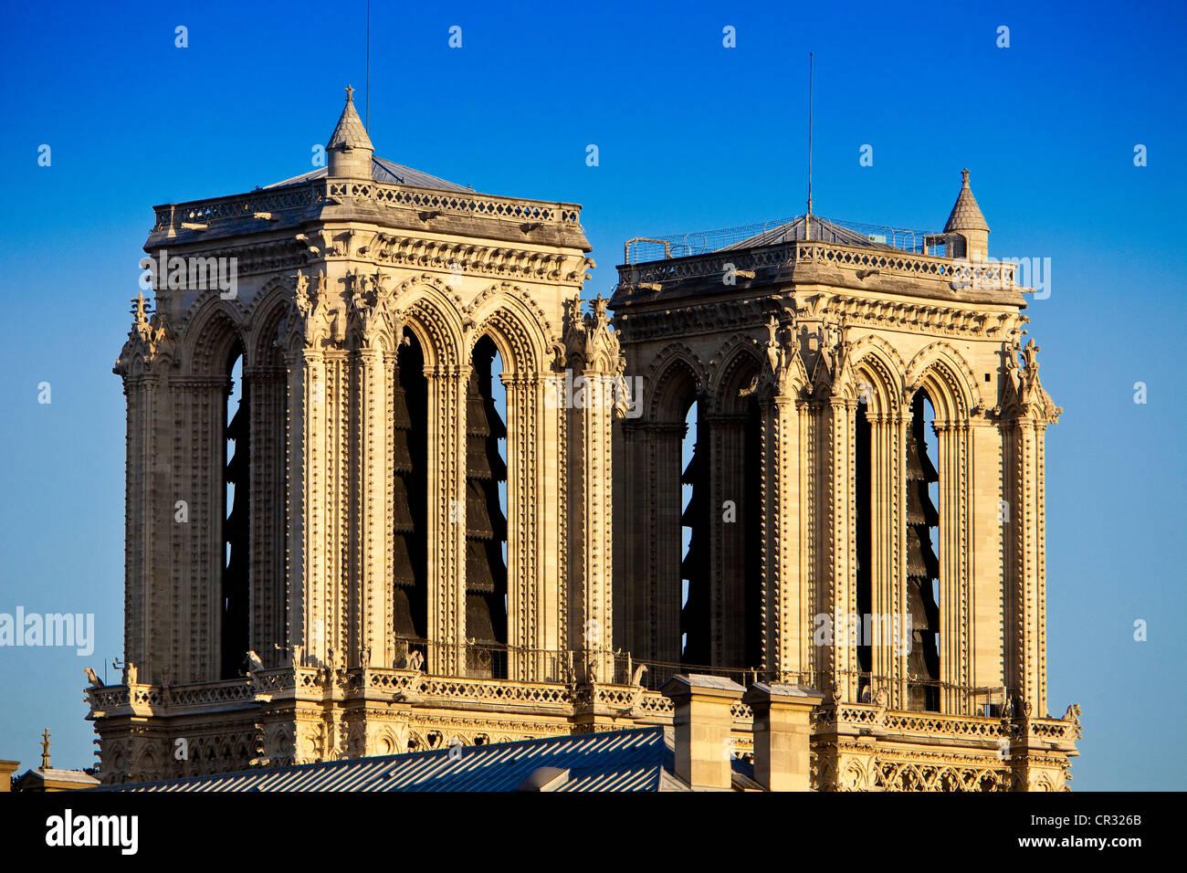 France, Paris, towers of Notre-Dame de Paris Cathedral - Stock Image