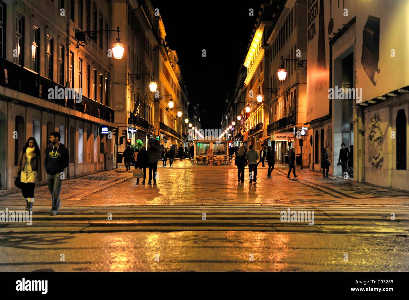 Rua Augusta, Baixa Chiado, Lisbon, Portugal, Europe Stock Photo