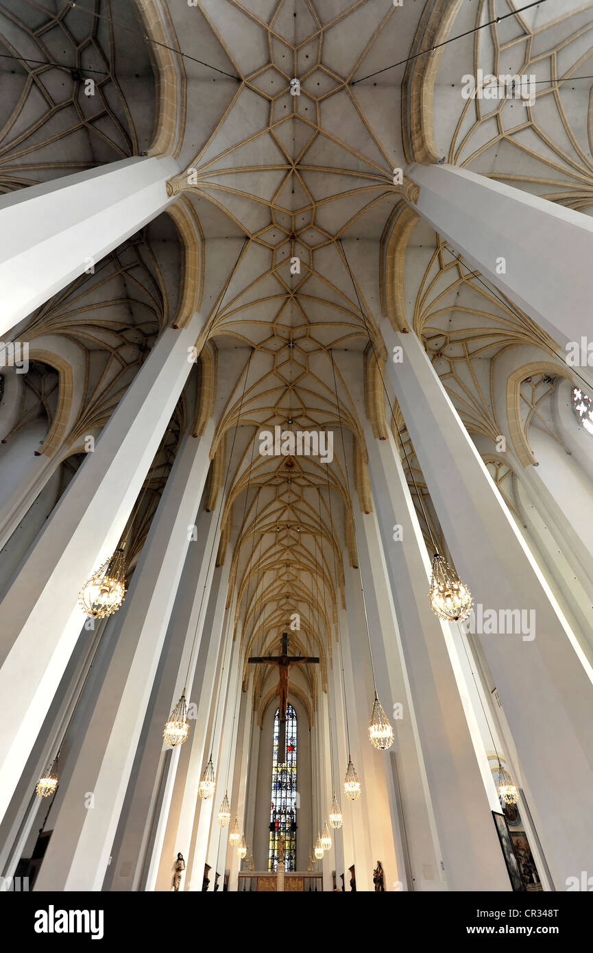 Interior view, high vaulted ceilings, Frauenkirche, Church of Our Lady, Munich, Bavaria, Germany, Europe - Stock Image