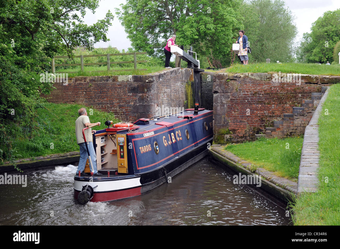 Canal boating on the Trent & Mersey and Staffs & Worcester Canals - Stock Image