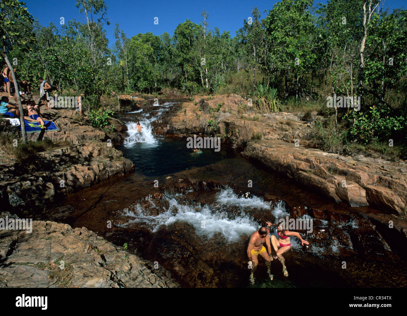 Australia, Northern Territory, Litchfield National Park, swimming in the Buley Rockhole waterfalls - Stock Image