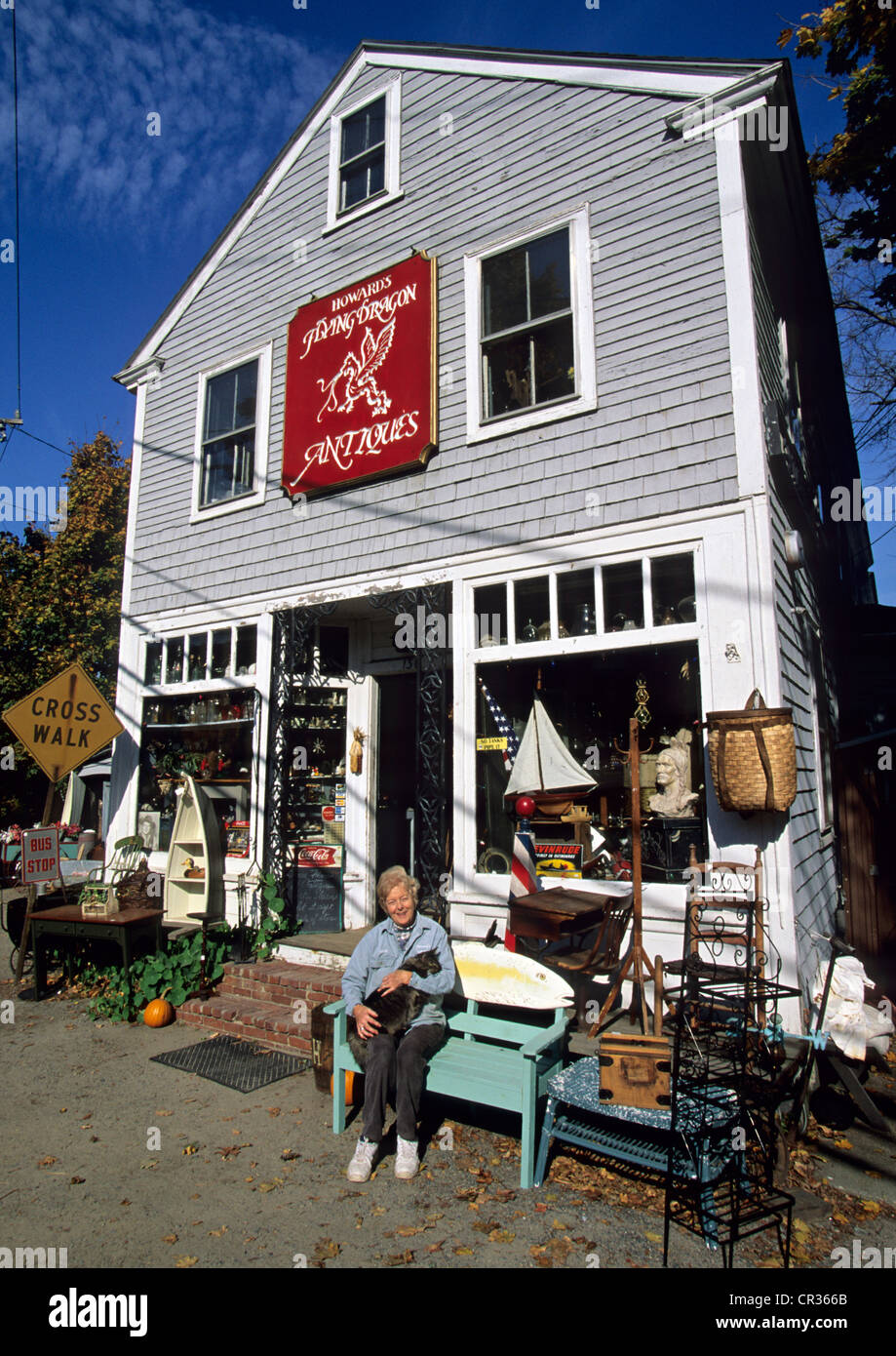 United States, Massachusetts, Essex, boutique d'antiquités Howard's Flying Dragon - Stock Image