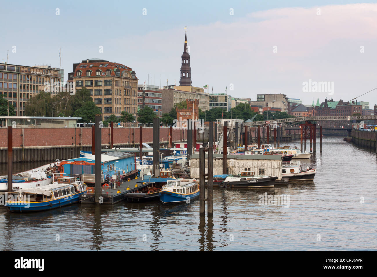 Hamburg's inland harbour with barges and fleet boats, Hamburg, Germany, Europe - Stock Image
