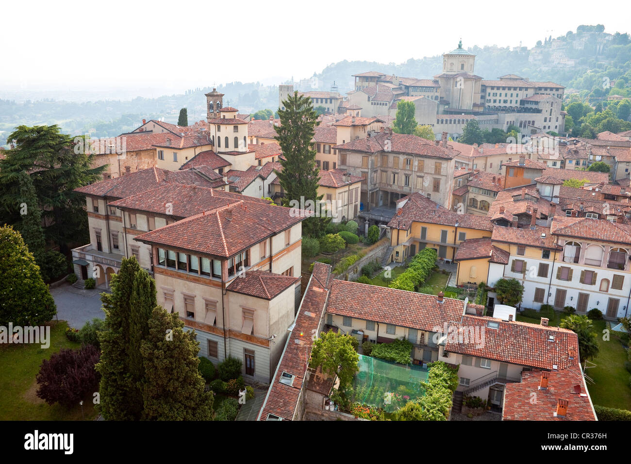 Italy, Lombardy, Bergamo, overview on the Citta Alta (upper citty) - Stock Image