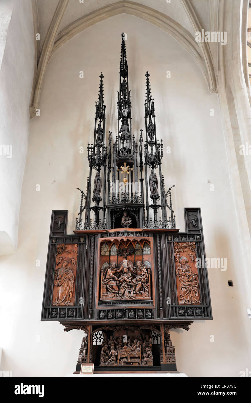 Coronation Altar of the Virgin Mary, St. James Church, built 1311-1484, Evangelical Lutheran Parish Church of St. - Stock Image
