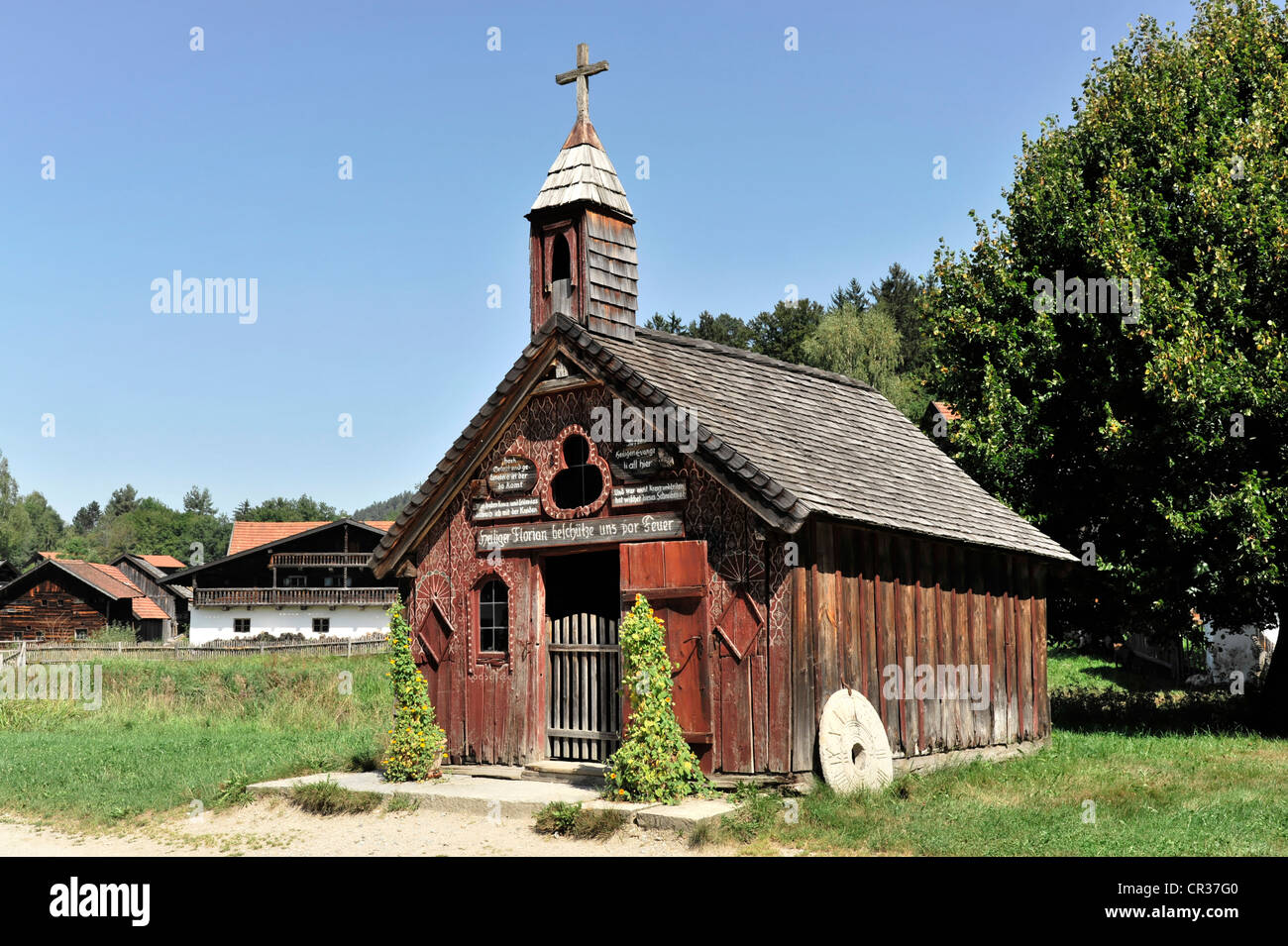 Pilgrimage Shrine of Our Lady of Good Counsel from Thierham, Bavarian Forest Museum Village, Tittling, Bavaria, - Stock Image