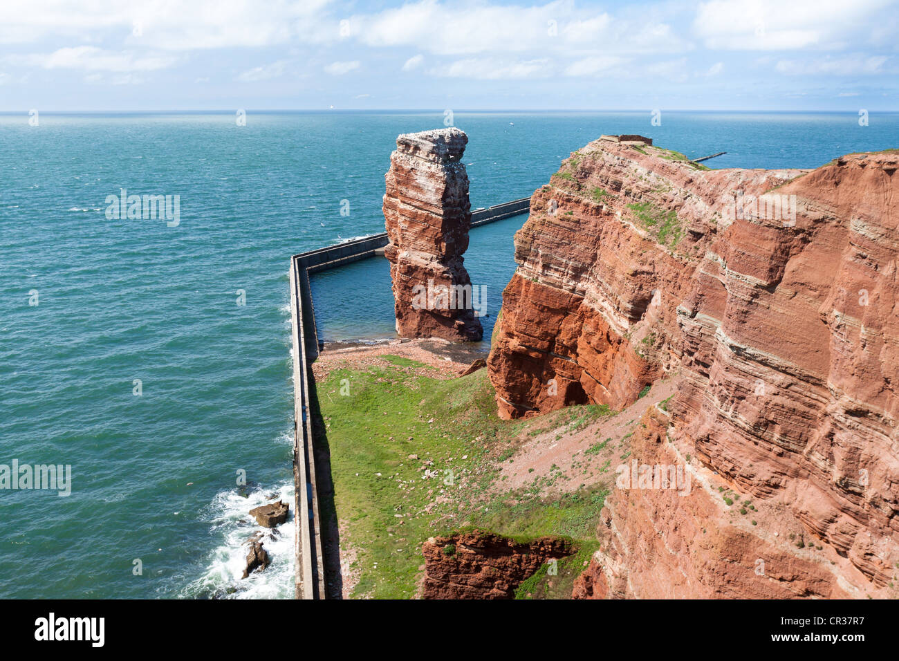 Long Anna, the only free-standing stone tower in Germany, since 1865 a landmark of Heligoland, Helgoland, Schleswig - Stock Image