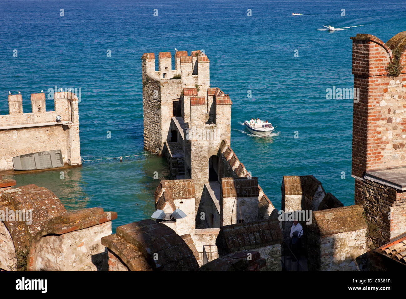 Italy, Lombardy, Lake Garda, Sirmione, the castle of Rocca Scaligieri - Stock Image