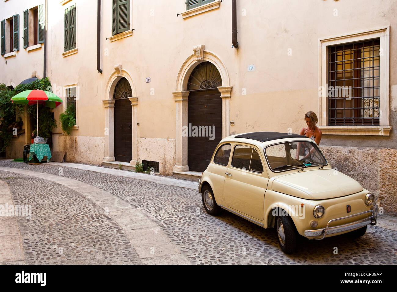 Italy, Veneto, Verona, a Fiat 500 - Stock Image