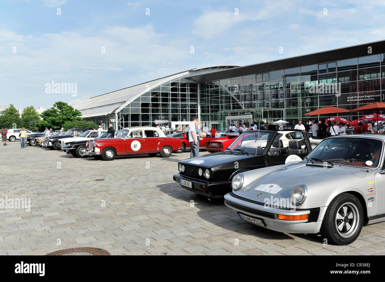 Vintage cars in car park, AUDI Erlebniswelt, Audi Forum, Donau Classic 2011, Ingolstadt, Bavaria, Germany, Europe - Stock Image