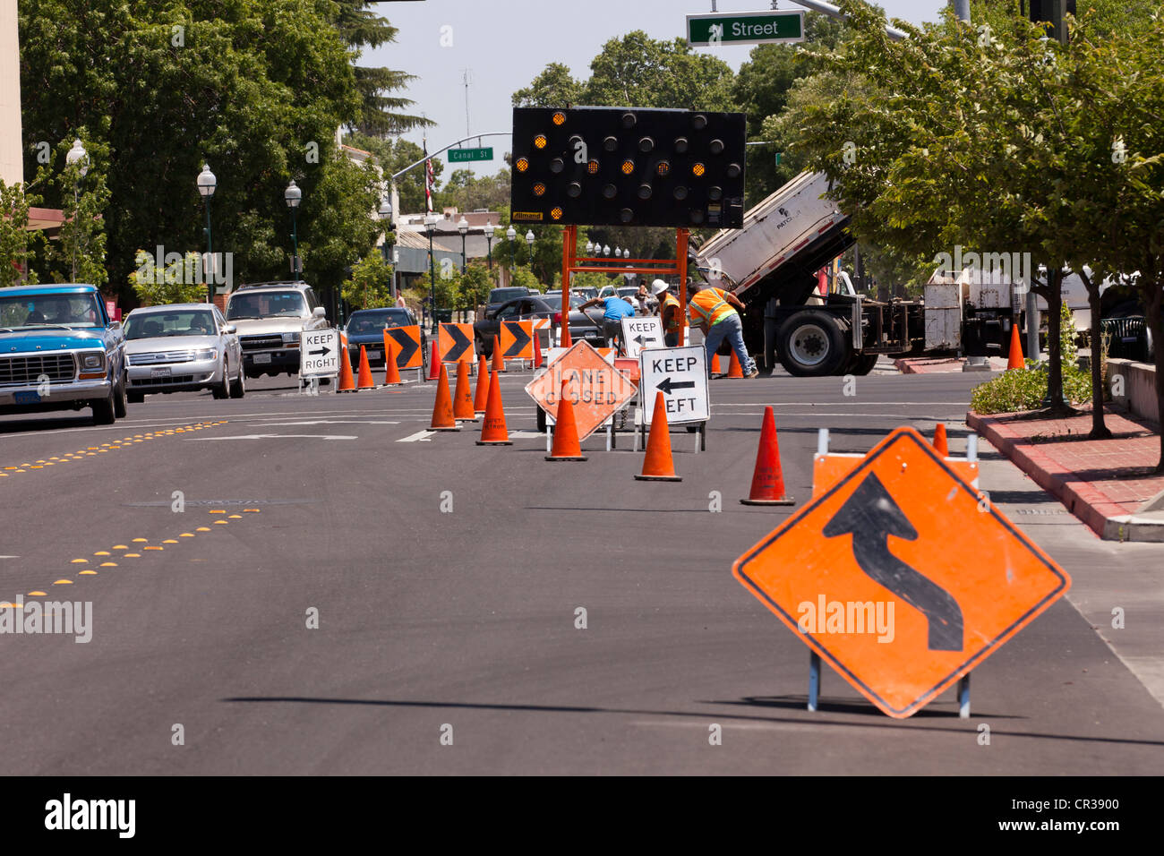 Suburban road construction zone - USA - Stock Image