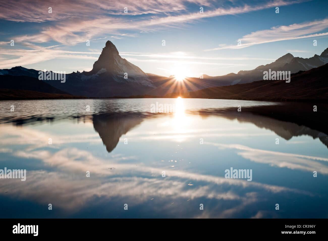Sunset at Mt Matterhorn with reflections in Stellisee Lake, Zermatt, Canton Valais, Switzerland, Europe, PublicGround Stock Photo
