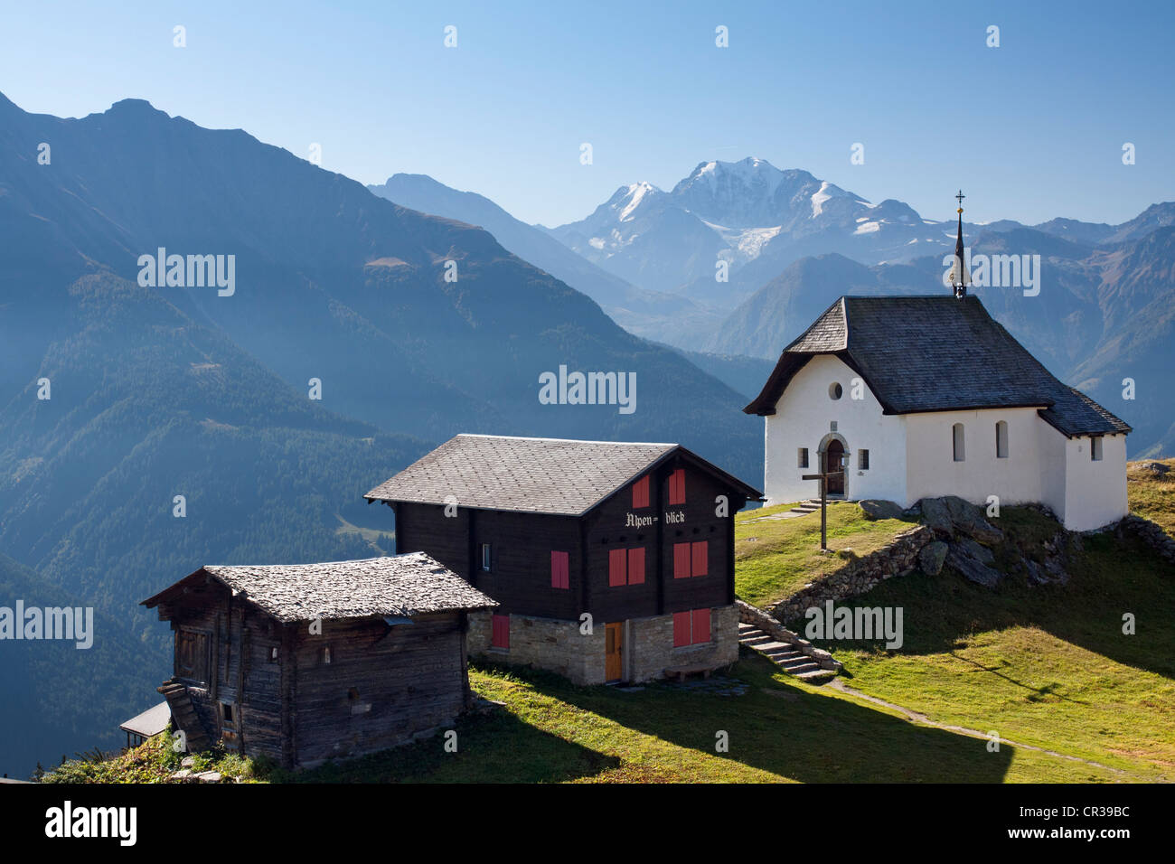 Lady of the Snows Chapel on Bettmeralp Mountain above the Rhone Valley, Canton of Valais, Switzerland, Europe, PublicGround - Stock Image