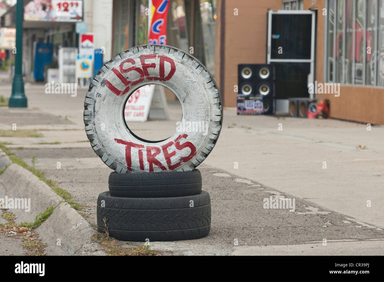 Used tires display - Stock Image