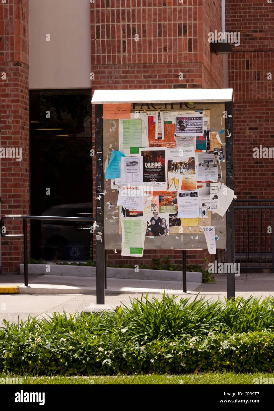 An outdoor bulletin board - Stock Image