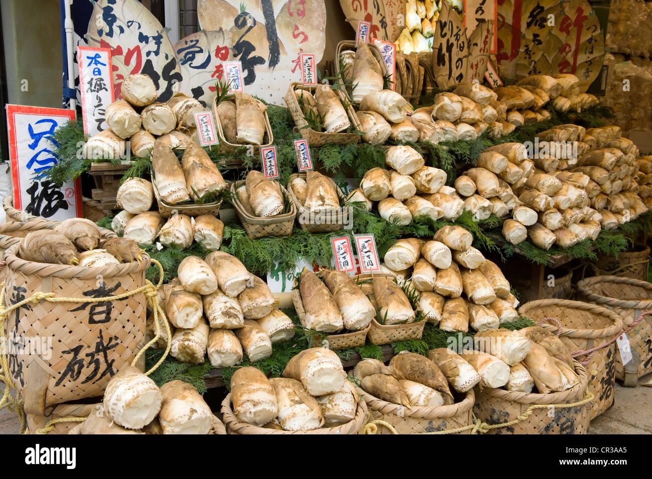 Japan, Honshu Island, Kinki Region, city of Kyoto, bamboo shoot stand Stock Photo