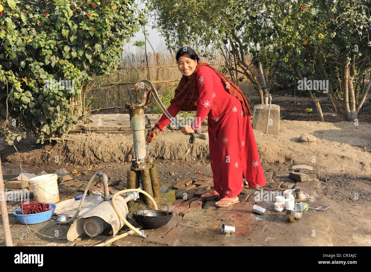Smiling Nepalese Hindu woman getting water, near Pokhara, Kathmandu, Nepal, South Asia - Stock Image