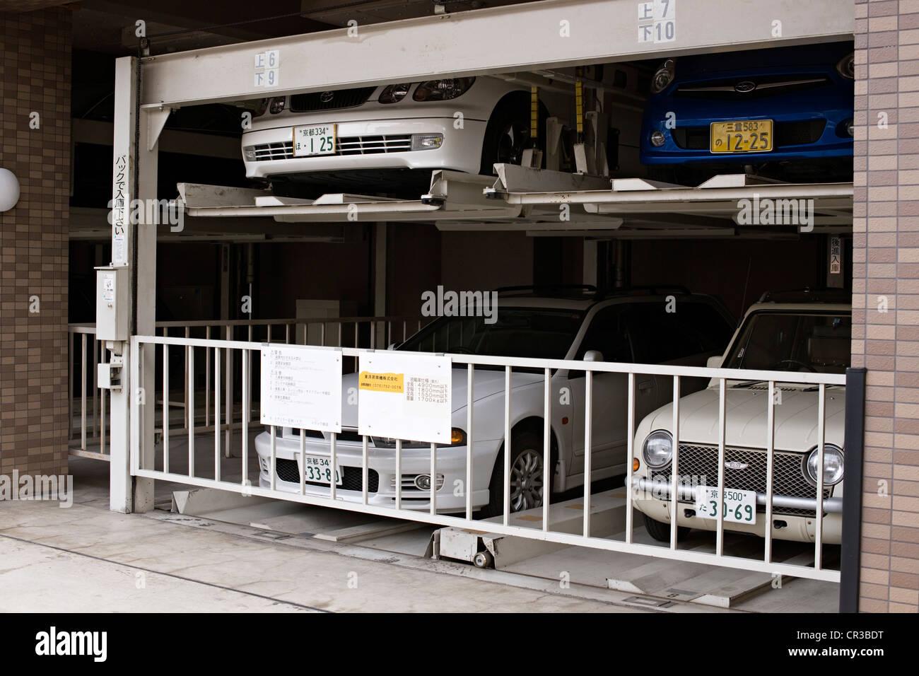 Japan, Honshu Island, Kinki Region, city of Kyoto, parking - Stock Image