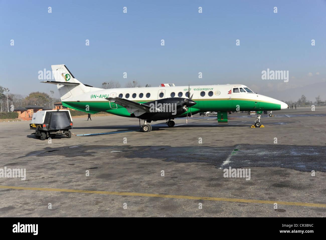 Yeti Airlines aircraft for a scenic flight, Kathmandu, Nepal, Asia - Stock Image