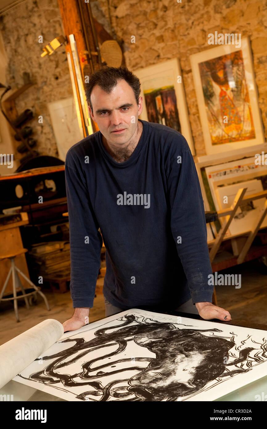 France, Paris, A Fleur de Pierre lithography workshop, Etienne de Champfleury - Stock Image