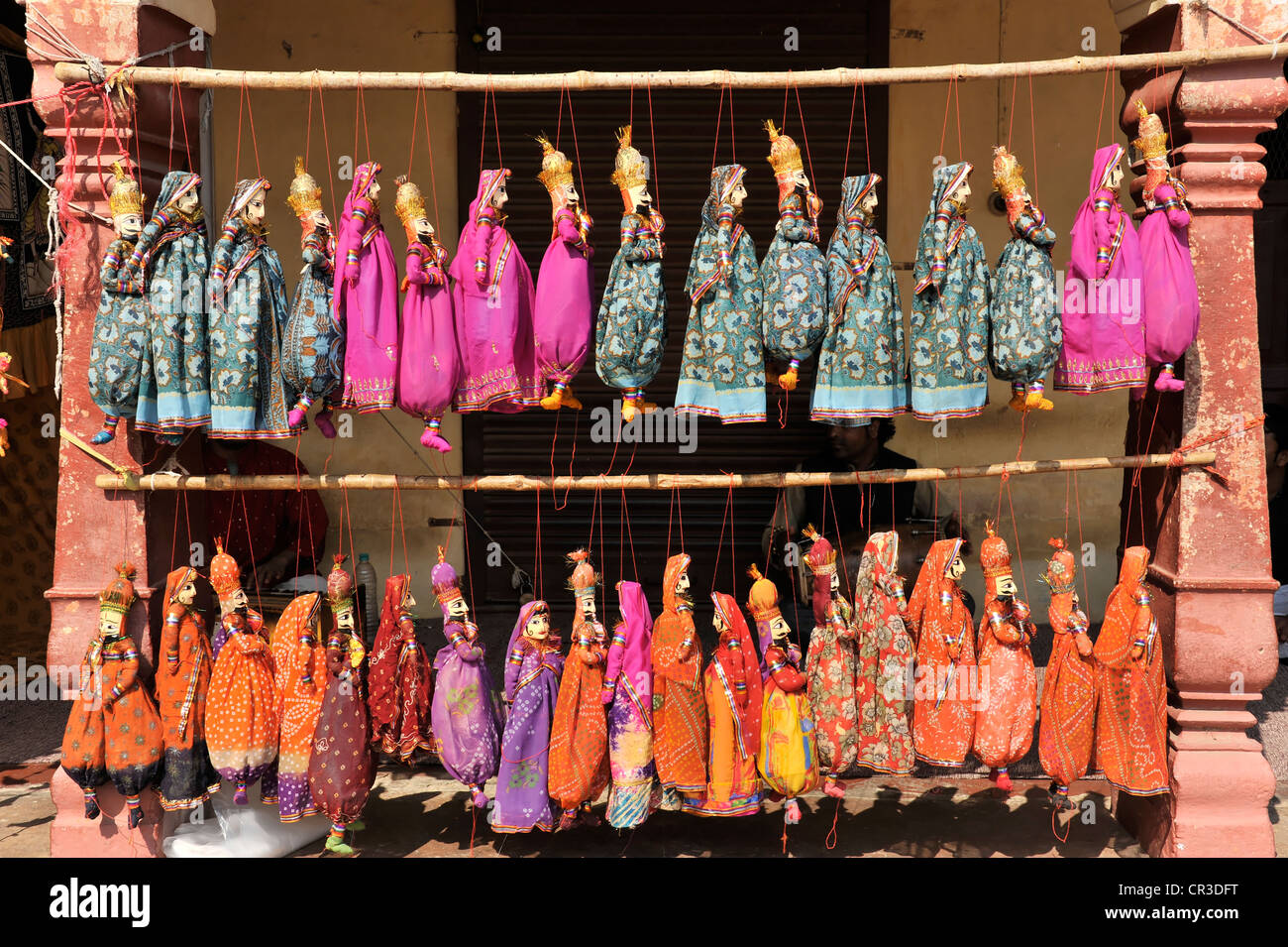 Puppets of a puppeteer, Jaipur, Rajasthan, North India, India, South Asia, Asia - Stock Image